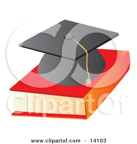 Graduation Cap on Top of a Text Book School Clipart Illustration by Rasmussen Images