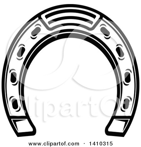 Clipart of a Black and White Horseshoe - Royalty Free Vector Illustration by Vector Tradition SM