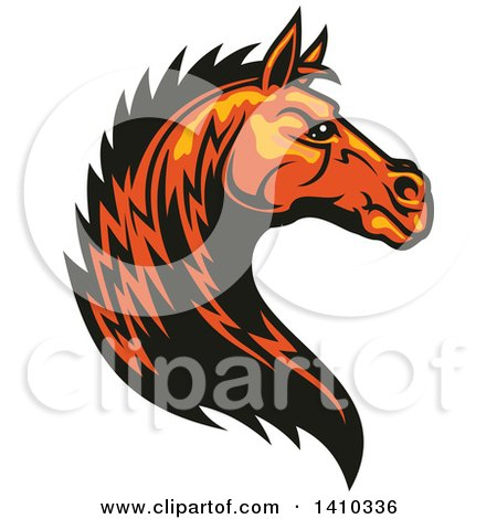 Clipart of a Tough Orange Horse Head - Royalty Free Vector Illustration by Vector Tradition SM