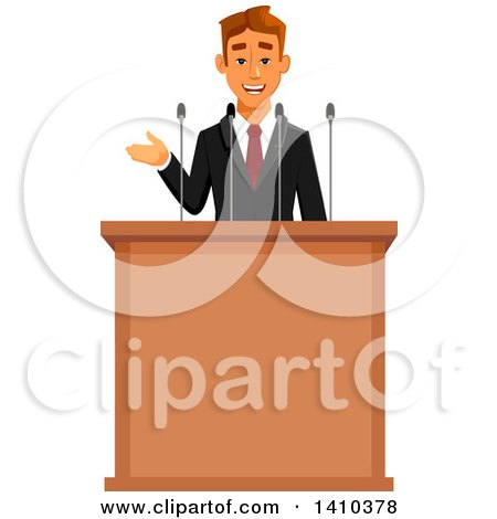 Clipart of a Caucasian Business Man or Politician Speaking - Royalty Free Vector Illustration by Vector Tradition SM