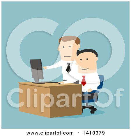 Clipart of a Flat Design Boss Helping an Employee on a Computer, on Blue - Royalty Free Vector Illustration by Vector Tradition SM