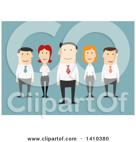 Clipart of a Flat Design Caucasian Business Team, on Blue - Royalty Free Vector Illustration by Vector Tradition SM