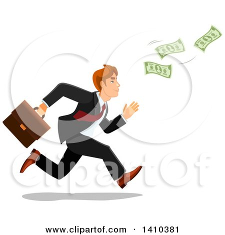 Clipart of a Caucasian Business Man Chasing Money - Royalty Free Vector Illustration by Vector Tradition SM
