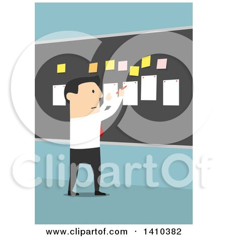 Clipart of a Flat Design White Business Man Laying out a Plan on a Board, on Blue - Royalty Free Vector Illustration by Vector Tradition SM