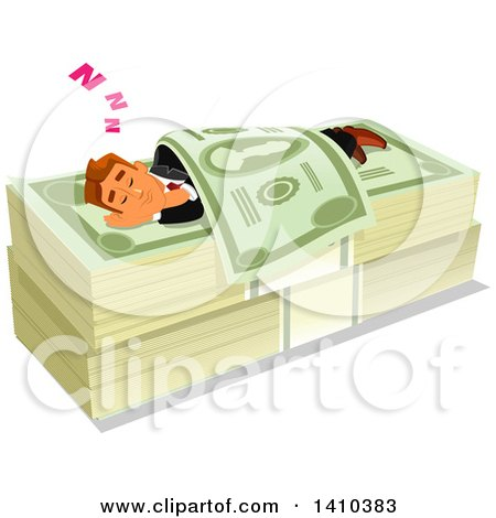 Clipart of a Caucasian Business Man Sleeping on a Money Bed - Royalty Free Vector Illustration by Vector Tradition SM