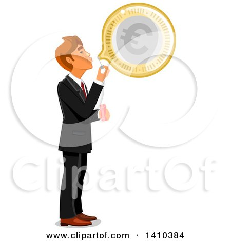 Clipart of a Caucasian Business Man Blowing a Bubble with Euro Currency - Royalty Free Vector Illustration by Vector Tradition SM