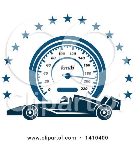 Clipart of a Blue Race Car, Speedometer and Stars - Royalty Free Vector Illustration by Vector Tradition SM