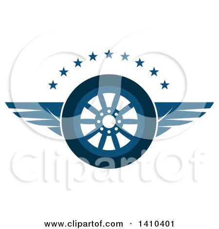 Clipart of a Flying Tire with Blue Wings and Stars - Royalty Free Vector Illustration by Vector Tradition SM