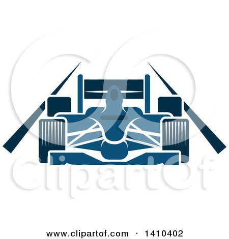 Clipart of a Blue Race Car on a Track - Royalty Free Vector Illustration by Vector Tradition SM