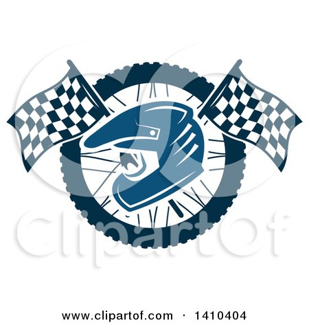 Clipart of a Blue Racing Helmet over Crossed Checkered Flags and a Wheel - Royalty Free Vector Illustration by Vector Tradition SM