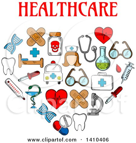 Clipart of a Heart Formed of Sketched Medical Icons with Text - Royalty Free Vector Illustration by Vector Tradition SM