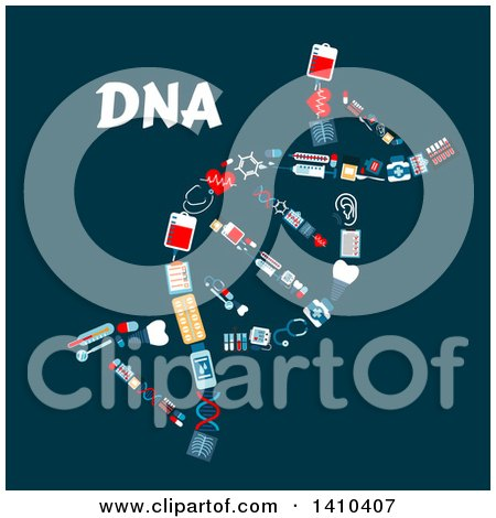 Clipart of a Flat Design Dna Strand Formed of Medical Icons, with Text on Blue - Royalty Free Vector Illustration by Vector Tradition SM