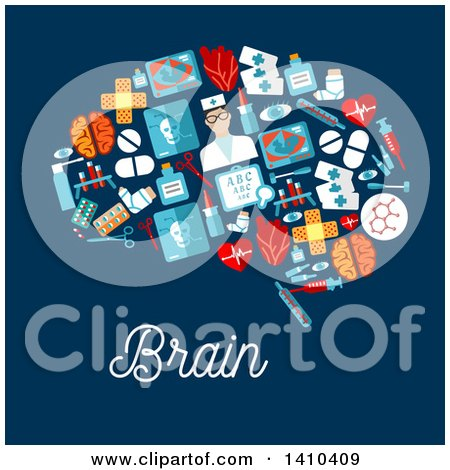 Clipart of a Flat Design Brain Made of Medical Items, with Text on Blue - Royalty Free Vector Illustration by Vector Tradition SM