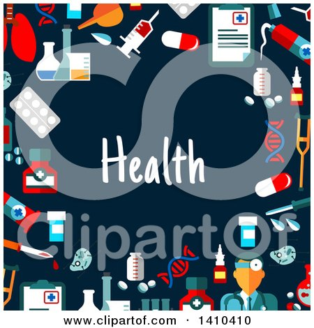 Clipart of a Flat Design Border of Health Icons and Text on Blue - Royalty Free Vector Illustration by Vector Tradition SM