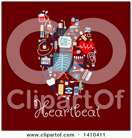 Clipart of a Flat Design Human Heart Formed of Medical Icons, with Text on Red - Royalty Free Vector Illustration by Vector Tradition SM