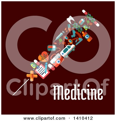 Clipart of a Flat Design Vaccine Syringe Made of Medical Icons on Brown - Royalty Free Vector Illustration by Vector Tradition SM