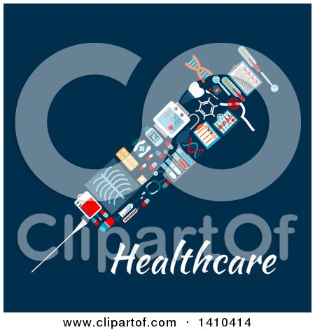 Clipart of a Flat Design Syringe Made of Medical Icons, on Blue - Royalty Free Vector Illustration by Vector Tradition SM