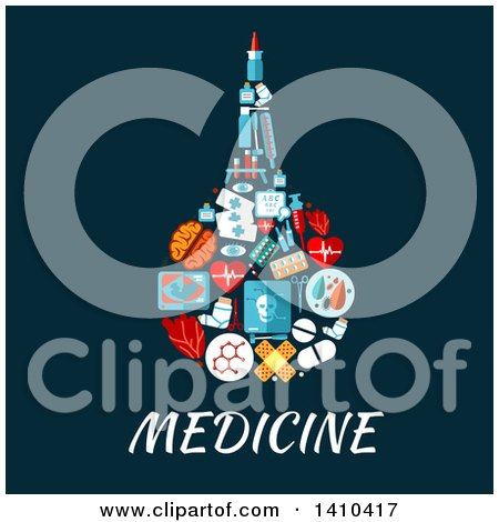 Clipart of a Flat Design Enema Rectal Bulb Syringe Made of Medical Icons - Royalty Free Vector Illustration by Vector Tradition SM