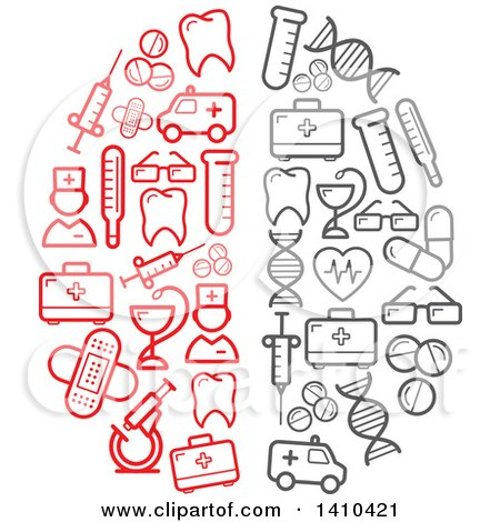 Clipart of a Brain Formed of Red and Gray Medical Icons - Royalty Free Vector Illustration by Vector Tradition SM