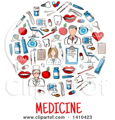 Clipart of a Circle Formed of Sketched Medical Icons with Text - Royalty Free Vector Illustration by Vector Tradition SM