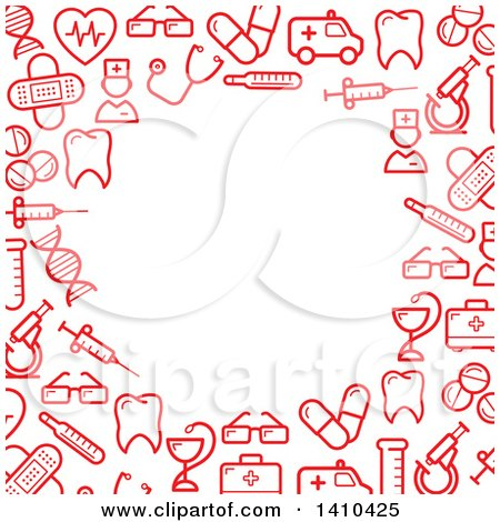 Clipart of a Border Made of Red Medical Icons - Royalty Free Vector Illustration by Vector Tradition SM