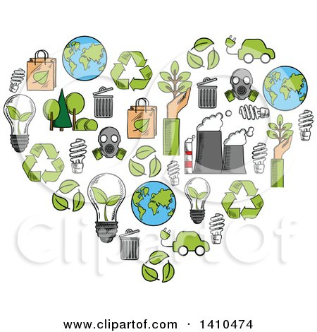Clipart of a Heart Formed of Sketched Green Energy Icons - Royalty Free Vector Illustration by Vector Tradition SM
