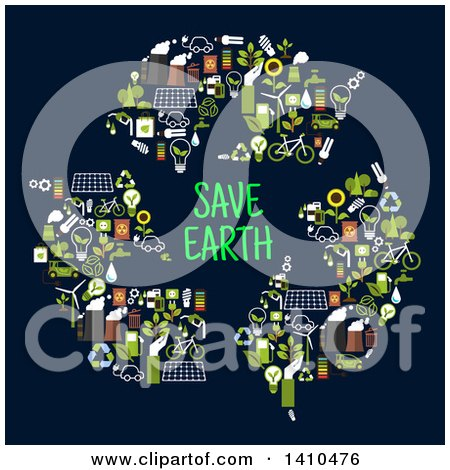 Clipart of a Flat Design Recycle Arrows with Save Earth Text, Made of Green Icons on Blue - Royalty Free Vector Illustration by Vector Tradition SM