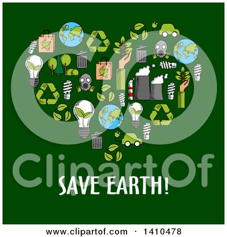 Clipart of a Heart Made of Sketched Ecology Icons over Text on Green - Royalty Free Vector Illustration by Vector Tradition SM