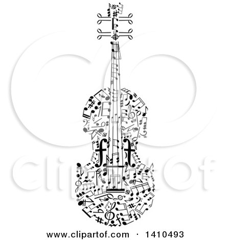 Clipart of a Violin Formed of Black and White Music Notes - Royalty Free Vector Illustration by Vector Tradition SM