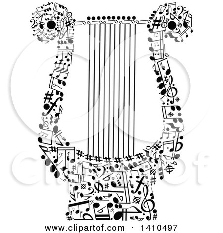 Clipart of a Lyre Formed of Black and White Music Notes - Royalty Free Vector Illustration by Vector Tradition SM