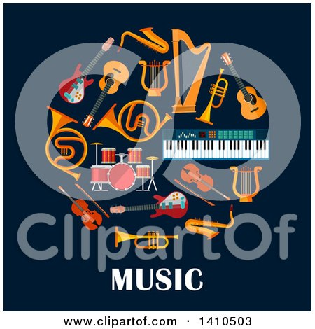 Clipart of a Circle of Instruments with Text on Blue - Royalty Free Vector Illustration by Vector Tradition SM