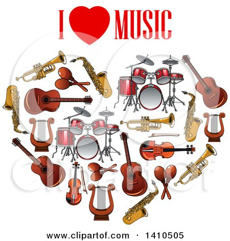 Clipart of Text over a Heart Formed of Music Instruments - Royalty Free Vector Illustration by Vector Tradition SM