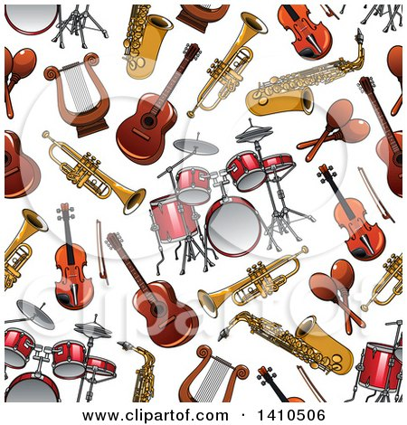 Clipart of a Seamless Background Pattern of Musical Instruments - Royalty Free Vector Illustration by Vector Tradition SM
