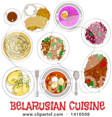 Clipart of Sketched Belarusian Dinner Plates and Text - Royalty Free Vector Illustration by Vector Tradition SM
