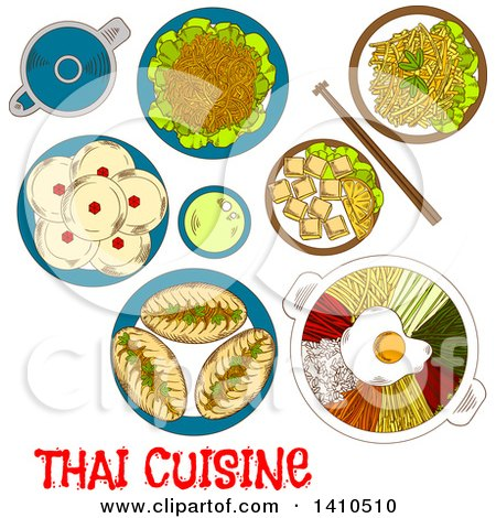 Clipart of a Sketched Meal of Thai Cuisine - Royalty Free Vector Illustration by Vector Tradition SM