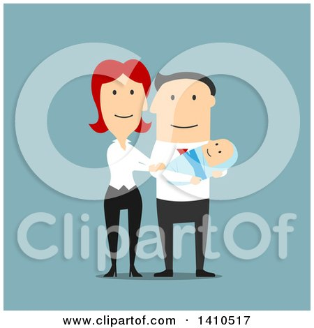 Clipart of a Flat Design Caucasian Couple with Their Baby, on Blue - Royalty Free Vector Illustration by Vector Tradition SM