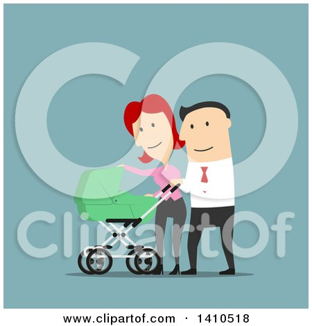 Clipart of Flat Design Caucasian Parents Walking with Their Baby, on Blue - Royalty Free Vector Illustration by Vector Tradition SM