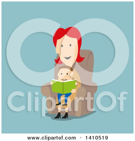 Clipart of a Flat Design Caucasian Mother Reading a Book to Her Son, on Blue - Royalty Free Vector Illustration by Vector Tradition SM