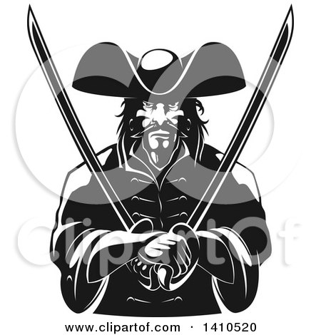 Clipart of a Black and White Tough Pirate Holding Swords in His Crossed Arms - Royalty Free Vector Illustration by Vector Tradition SM