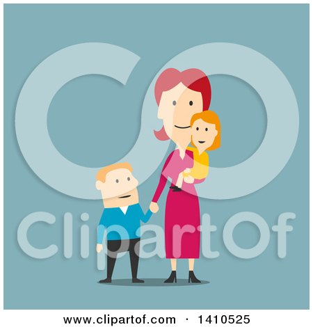 Clipart of a Flat Design Caucasian Mother and Children, on Blue - Royalty Free Vector Illustration by Vector Tradition SM