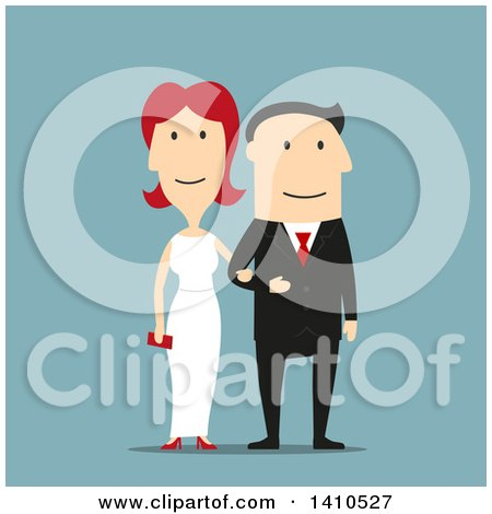 Clipart of a Flat Design Caucasian Wedding Couple, on Blue - Royalty Free Vector Illustration by Vector Tradition SM