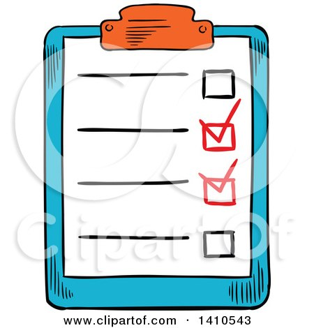 Clipart of a Sketched Check List - Royalty Free Vector Illustration by Vector Tradition SM