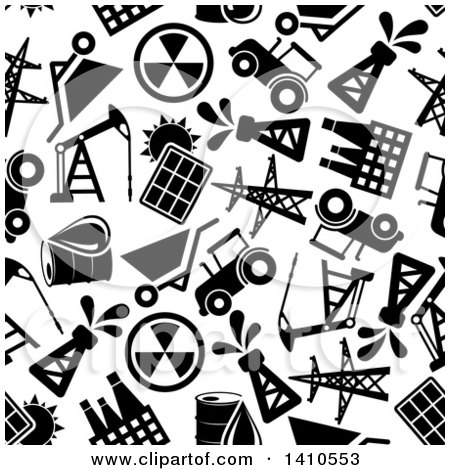 Clipart of a Seamless Background Pattern of Black and White Energy Icons - Royalty Free Vector Illustration by Vector Tradition SM