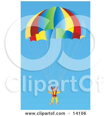 Male Skydiver Descending in a Parachute Aviation Clipart Illustration by Rasmussen Images