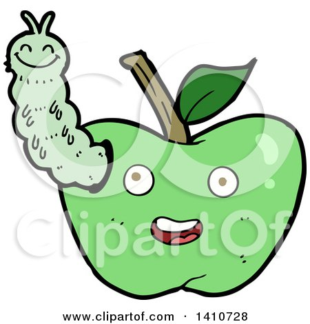 Clipart of a Cartoon Worm in an Apple - Royalty Free Vector Illustration by lineartestpilot