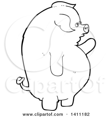 Clipart of a Cartoon Black and White Lineart Pig - Royalty ...