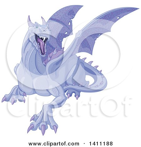 Clipart of a Mad Purple Dragon - Royalty Free Vector Illustration by Pushkin
