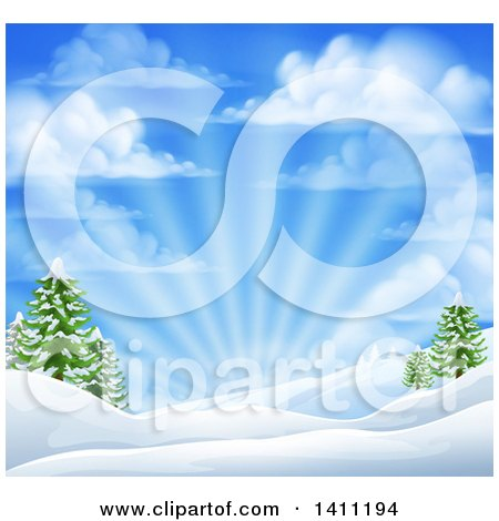 Clipart of a Winter Morning Sunrise with Rays and a Blue Cloudy Sky over Snow Covered Hills and Evergreen Trees - Royalty Free Vector Illustration by AtStockIllustration