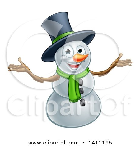 Clipart of a Christmas Snowman Wearing a Green Scarf and a Top Hat - Royalty Free Vector Illustration by AtStockIllustration