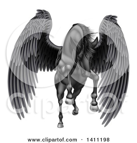Clipart of a Majestic Winged Black Horse Pegasus Flying Forward - Royalty Free Vector Illustration by AtStockIllustration